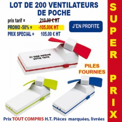 LOT DE 200 VENTILATEURS DE POCHE REF 663 LOT