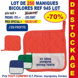 LOT DE 250 MANIQUES BICOLORES REF 945 LOT