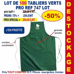 LOT DE 100 TABLIERS PRO VERTS REF 747 LOT