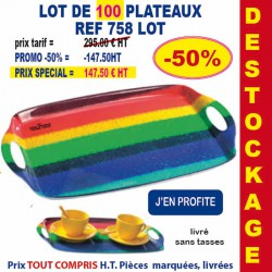 LOT DE 100 PLATEAUX REF 758 LOT 758 LOT BONS PLANS 295,00 €