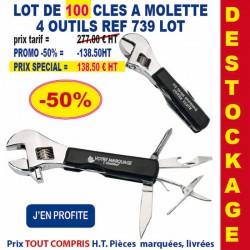 LOT DE 100 CLES A MOLETTE 4 OUTILS REF 739LOT