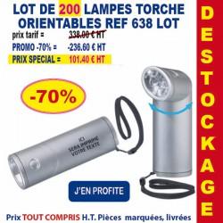 LOT DE 200 LAMPES TORCHE ORIENTABLES REF 638 LOT 638 LOT BONS PLANS 101,40 €