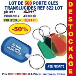 LOT DE 500 PORTE CLES TRANSLUCIDE REF 822 LOT