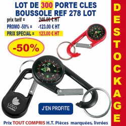 LOT DE 300 PORTE CLES MOUSQUETON BOUSSOLE REF 278 LOT
