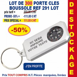 LOT DE 300 PORTE CLES BOUSSOLE ARGENT REF 291 LOT 291 LOT BONS PLANS 111,00 €