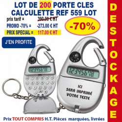LOT DE 200 PORTE CLES MOUSQUETON MINI CALCULETTE REF 559 LOT