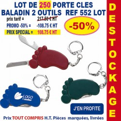 LOT DE 250 PORTE CLES BALADIN 2 OUTILS REF 552 LOT 552 LOT BONS PLANS 108,75 €
