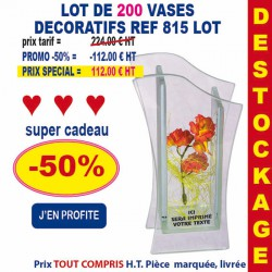 LOT DE 200 VASE DECORATIFS REF 815 LOT 815 LOT BONS PLANS 112,00 €