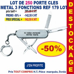 LOT DE 250 PORTE CLES METAL 3 FONCTIONS REF 179 LOT