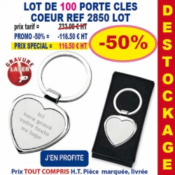 LOT DE 100 PORTE CLES METAL COEUR 2850 LOT