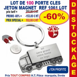 LOT DE 100 PORTE CLES METAL JETON MAGNET REF 1061 LOT