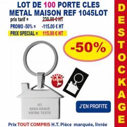 LOT DE 100 PORTE CLES METAL MAISON REF 1045 LOT