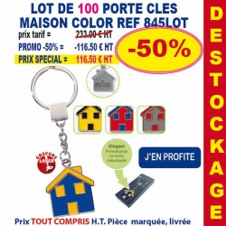 LOT DE 100 PORTE CLES METAL MAISON COLOR REF 845 LOT
