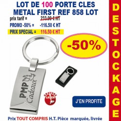 LOT DE 100 PORTE CLES METAL FIRST REF 858 LOT