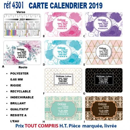CARTE CALENDRIER 2019 REF 4301 4301 NOUVEAUTES 0,39 €