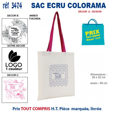 PETIT SAC ECRU COLORAMA REF 3474 3474 SACS SHOPPING - TOTEBAG 0,96 €
