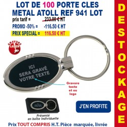 LOT DE 100 PORTE CLES METAL ATOLL REF 941 LOT 941 LOT BONS PLANS 233,00 €