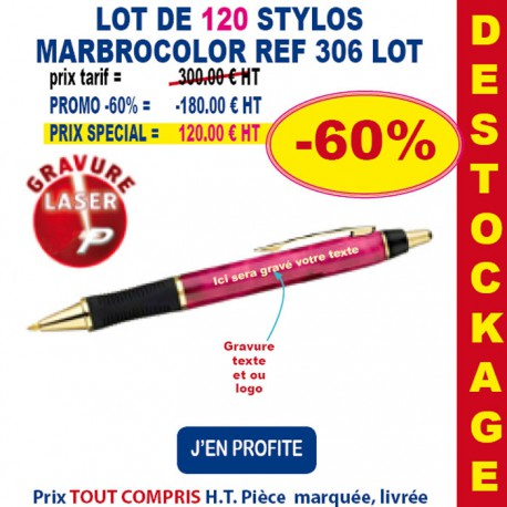 LOT DE 120 STYLOS MARBROCOLOR REF 306 LOT 306LOT BONS PLANS 300,00 €
