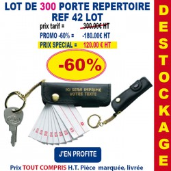 LOT DE 300 PORTE CLES REPERTOIRE REF 42 LOT