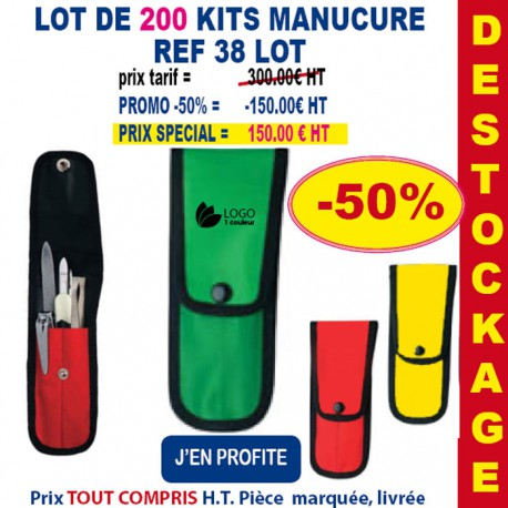 LOT DE 200 KIT MANUCURE REF 38 LOT 38 LOT BONS PLANS 300,00 €