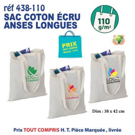 SAC COTON ECRU ANSES LONGUES 110 GRS REF 438-110 438-110 SACS SHOPPING - TOTEBAG 1,07 €