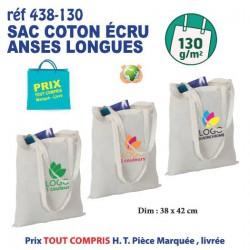 SAC COTON ECRU ANSES LONGUES 130 GRS REF 438-130 438-130 SACS SHOPPING - TOTEBAG 1,10 €