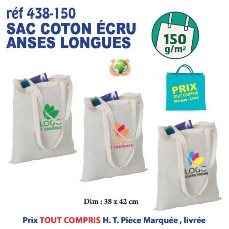 SAC COTON ECRU ANSES LONGUES 150 GRS REF 438-150 438-150 SACS SHOPPING - TOTEBAG  1,17 €