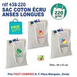 SAC COTON ECRU ANSES LONGUES 220 GRS REF 438-220 438-220 SACS SHOPPING - TOTEBAG 1,49 €