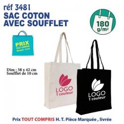 SAC COTON SOUFFLET ANSES LONGUES 180 GRS REF 3481 3481 SACS SHOPPING - TOTEBAG 2,09 €