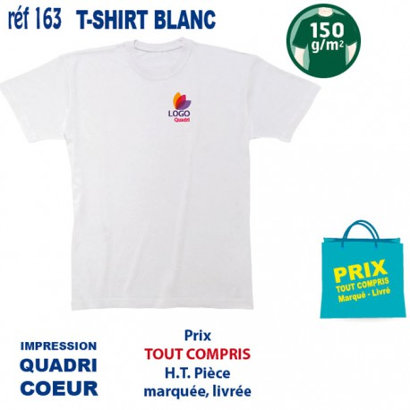 T SHIRT BLANC 150 GRS IMP COEUR 163 CO T SHIRTS BLANCS 2,44 €