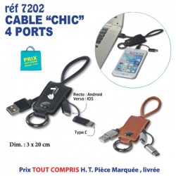 CABLE CHIC 4 PORTS REF 7202 7202 ACCESSOIRES SMARTPHONE TABLETTE 3,55 €