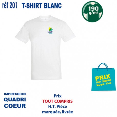 T SHIRT BLANC 190 GRS IMP COEUR 201 CO T SHIRTS BLANCS 2,96 €