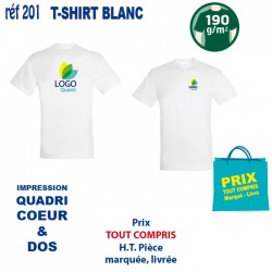 T SHIRT BLANC 190 GRS IMP COEUR ET CENTRE 201 CO CE T SHIRTS BLANCS 3,67 €