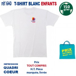 T SHIRT BLANC ENFANTS 150 GRS IMP COEUR 640 CO T SHIRTS BLANCS 2,29 €