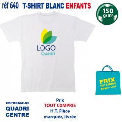 T SHIRT BLANC ENFANTS 150 GRS IMP CENTRE 640 CE T SHIRTS BLANCS 2,63 €