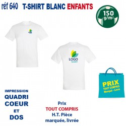 T SHIRT BLANC ENFANTS 150 GRS IMP COEUR ET CENTRE 640 CO CE T SHIRTS BLANCS 3,02 €
