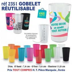 GOBELET REUTILISABLE QUADRI REF 2351 2351 GOURDES GOBELETS 0,53 €