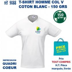 T SHIRT MIXTE COL V BLANC 150 GRS IMP COEUR 9088 T SHIRTS BLANCS 2,69 €