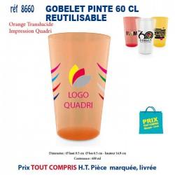 GOBELET PINTE 60 CL REUTILISABLE REF 8660 8660 GOURDES GOBELETS : OBJETS PUBLICITAIRES 0,45 €