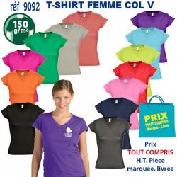 T SHIRT FEMME COL V 150 GRS REF 9092 9092 T SHIRTS COULEUR 3,43 €