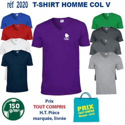 T SHIRT COL V 150 GRS DUO HOMME REF 2020