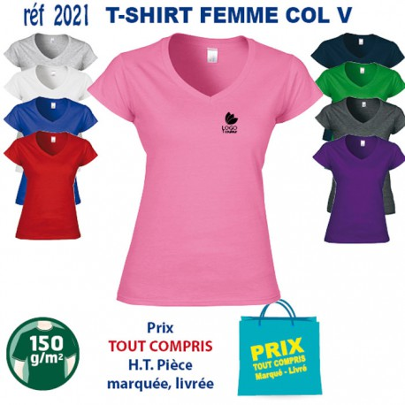 bf292061b9e82 T SHIRT COL V 150 GRS DUO FEMME REF 2021 2021 T SHIRTS COULEUR T SH...