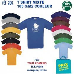 T SHIRT COULEUR MIXTE 185 GRS REF 200 200 T SHIRTS COULEUR 3,55 €