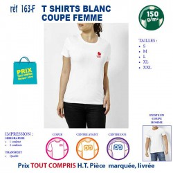 T SHIRT BLANC PUBLICITAIRE COTON FEMME 150 GRS REF 163 F 163 F T SHIRTS BLANCS 3,58 €
