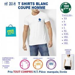 T SHIRT BLANC PUBLICITAIRE COTON HOMME 190 GRS REF 201 H 201 H T SHIRTS BLANCS 3,79 €