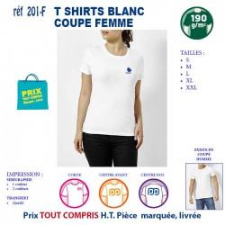 T SHIRT BLANC PUBLICITAIRE COTON FEMME 190 GRS REF 201 F 201 F T SHIRTS BLANCS 3,79 €