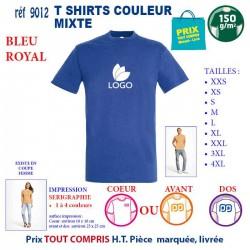 T-SHIRT COULEUR MIXTE BLEU ROYAL REF 9012 9012 BLEU ROYAL T-SHIRT COTON MIXTE 150 GRS 2,90 €
