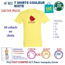 T-SHIRT COULEUR MIXTE JAUNE PALE REF 9012 9012 JAUNE PALE T-SHIRT COTON MIXTE 150 GRS 2,90 €