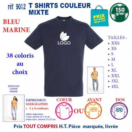 T-SHIRT COULEUR MIXTE BLEU MARINE REF 9012 9012 BLEU MARINE T-SHIRT COTON MIXTE 150 GRS  2,90€