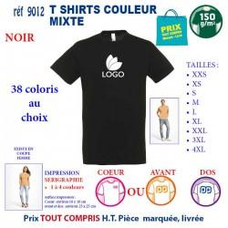 T-SHIRT COULEUR MIXTE NOIR REF 9012 9012 NOIR T-SHIRT COTON MIXTE 150 GRS 2,90 €